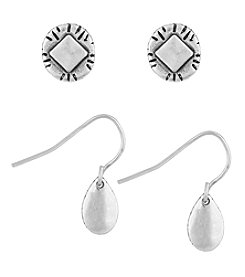 The Sak® Silvertone Stud And Drop Earrings Set