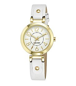 Nine West® Women's White And Goldtone Easy Reader Strap Watch