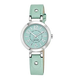 Nine West® Women's Silvertone Mint Green Easy Reader Strap Watch