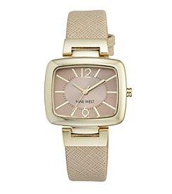 Nine West® Women's Goldtone Rectangular Strap Watch