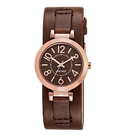 Nine West® Women's Rose Goldtone Brown Cuff Watch