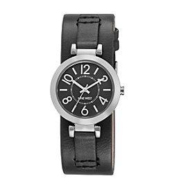 Nine West® Women's Silvertone Black Cuff Watch