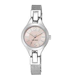 Nine West® Women's Silvertone Mesh Bracelet Watch