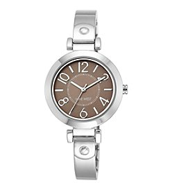 Nine West® Women's Silvertone Bangle With An Easy Reader Taupe Dial