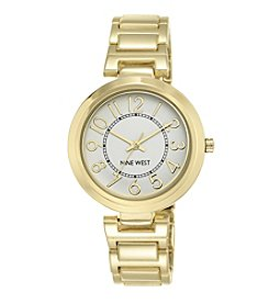 Nine West® Women's Classic Goldtone Easy Reader Bracelet Watch