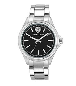 Vince Camuto Silvertone Bracelet Watch With Black Glossy Dial