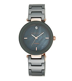 Anne Klein® Women's  Rose Goldtone Grey Ceramic Bracelet Watch