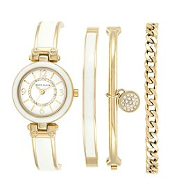 Anne Klein® Women's Goldtone And White Bangle And Bracelet Watch Set