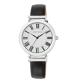 Anne Klein® Women's Silvertone Black Lambskin Leather Strap Watch