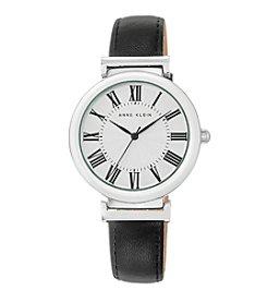 Anne Klein® Women's Silvertone Black Lambskin Leather Strap Watch