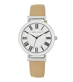 Anne Klein Women's  Silvertone Tan Lambskin Leather Strap Watch