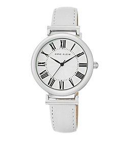 Anne Klein® Women's Silvertone White Lambskin Leather Strap Watch