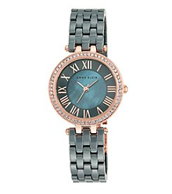 Anne Klein® Women's  Rose Goldtone Crystal Bezel Ceramic Bracelet Watch