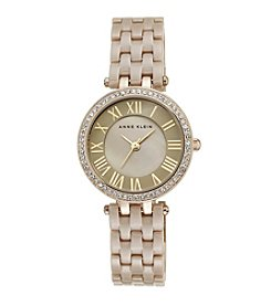 Anne Klein® Women's Goldtone Crystal Bezel Ceramic Bracelet Watch