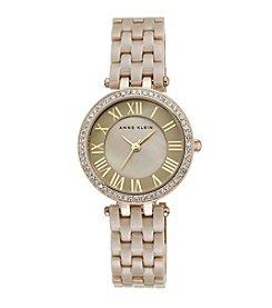 Anne Klein® Women's Goldtone Crystal Bezel Ceramic Bracelet Watch