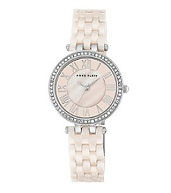 Anne Klein® Women's Silvertone Crystal Bezel Ceramic Bracelet Watch