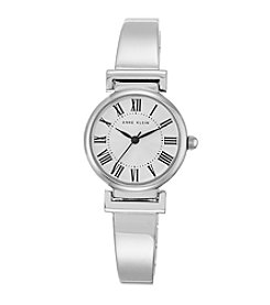 Anne Klein® Women's  Silvertone Roman Numeral Bangle Watch