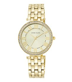 Anne Klein® Women's Crystal Bezel Goldtone Bracelet Watch