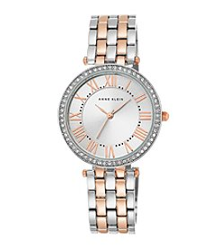 Anne Klein® Women's Crystal Bezel Rose Goldtone And Silvertone Bracelet Watch
