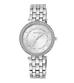 Anne Klein® Women's Crystal Bezel Silvertone Bracelet Watch