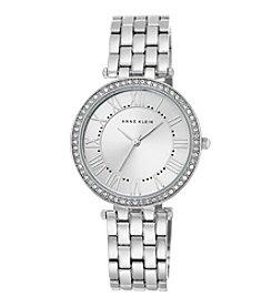 Anne Klein® Women's Crystal Bezel Silvertone Bracelet Watch