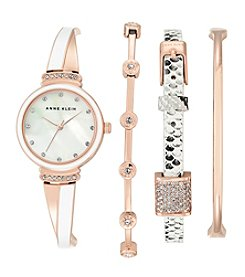 Anne Klein® Women's Rose Goldtone And Patterned Bangle And Bracelet Watch Set
