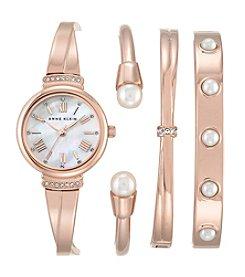 Anne Klein® Women's Rose Goldtone Mother Of Pearl Bangle And Bracelet Set