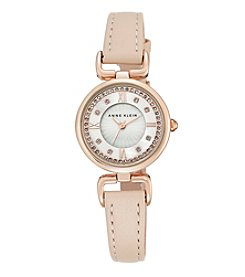 Anne Klein® Women's  Rose Goldtone Crystal Dial Strap Watch