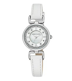 Anne Klein® Women's  Silvertone Crystal Dial Strap Watch