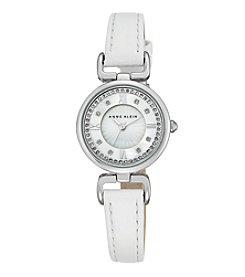 Anne Klein® Women's  Silvertone Crystal Dial Strap Watch