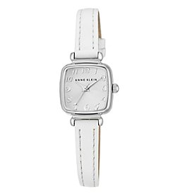 Anne Klein® Women's  Silvertone Mini Leather Strap Watch