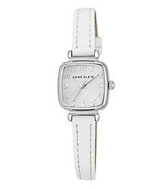Anne Klein® Women's  Silvertone Mini Leather Strap Watch