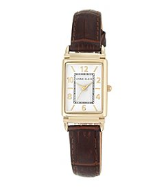Anne Klein® Women's Goldtone Rectangular Case Strap Watch