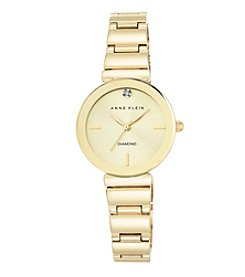 Anne Klein® Women's Diamond Dial Goldtone Polished Bracelet Watch