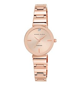 Anne Klein® Women's Diamond Dial Rose Goldtone Polished Bracelet Watch