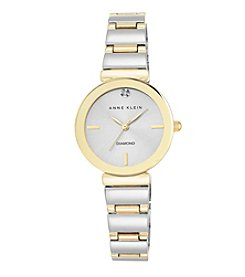 Anne Klein® Women's Diamond Dial Two Tone Polished Bracelet Watch
