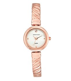 Anne Klein® Women's Diamond Dial Rose Goldtone Bangle Watch