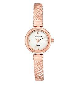 Anne Klein® Women's Diamond Dial Rose Goldtone Bangle Watch