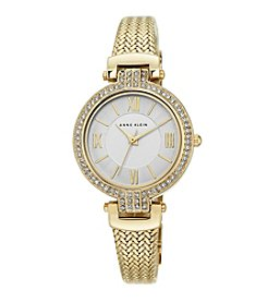 Anne Klein® Women's  Goldtone Crystal Bezel Mesh Strap Watch