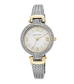 Anne Klein® Women's Two Tone Crystal Bezel Mesh Strap Watch