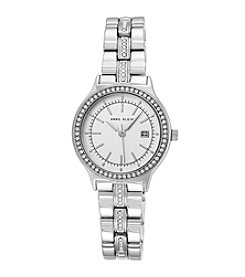 Anne Klein® Women's Crystal Bezel And Bracelet Silvertone Watch