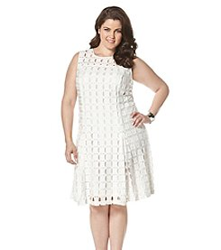 Rafaella® Plus Size Geo Lace Scuba Dress