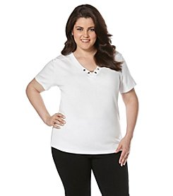 Rafaella® Plus Size Short Sleeve Chain Neck Tee