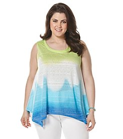 Rafaella® Plus Size Ombre Burnout Knit Tank