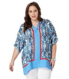 Rafaella® Plus Size Printed Split Neck Top