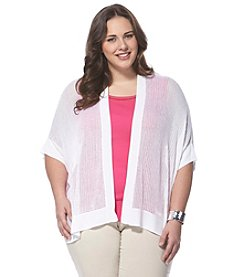 Rafaella® Plus Size Sheer Open Front Cardigan