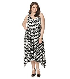 Rafaella® Plus Size Mini Hatched Tie-Dye Popover Dress