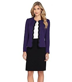 Tahari ASL® Scallop Trim Open Jacket with Skirt Suit Set