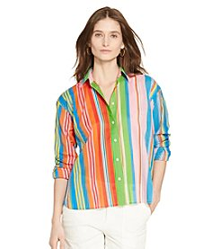 Lauren Ralph Lauren® Petites' Multi-Striped Cotton Shirt