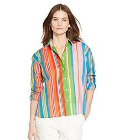 Lauren Ralph Lauren® Petites' Multi-Striped Cotton Shirt
